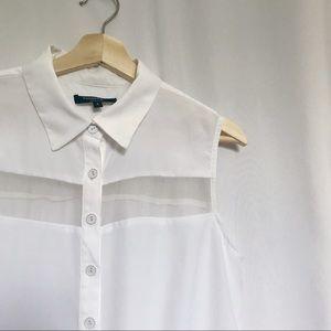 4/$25 Nanette Lepore white button down blouse